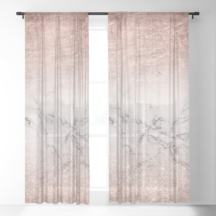Modern faux rose gold glitter and foil ombre gradient on white marble color block Sheer Curtain