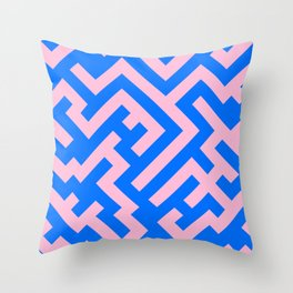 Cotton Candy Pink and Brandeis Blue Diagonal Labyrinth Throw Pillow