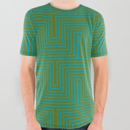 Doors & corners op art pattern in olive green and aqua blue All Over Graphic Tee