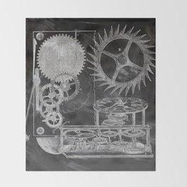 black and white vintage patent print chalkboard steampunk clock gear Throw Blanket