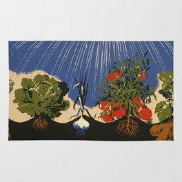 Vintage Vegetable Garden Illustration (1943) Rug