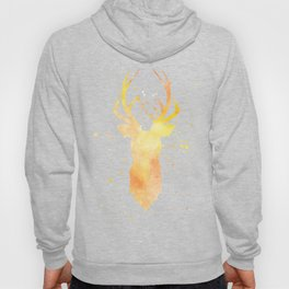Watercolor deer head with antlers, Yellow Hoody
