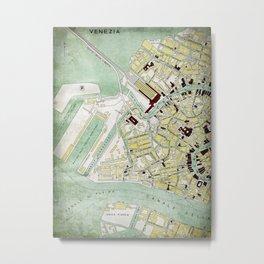 Vintage Venice historic map Italy retro travel design Metal Print