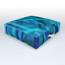 abstract composition in blues Outdoor Floor Cushion