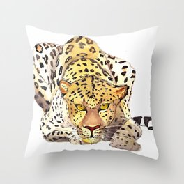 Watercolor leopard Throw Pillow