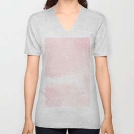 Pastel pink white modern hand painted watercolor. Unisex V-Neck
