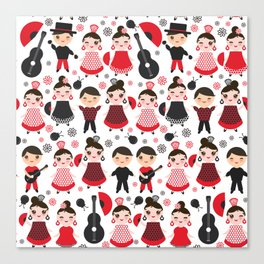 Seamless pattern spanish flamenco dancer. Kawaii cute face with pink cheeks and winking eyes. Canvas Print