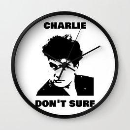 Charlie Sheen Don't Surf Wall Clock