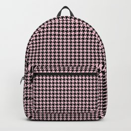Soft Pastel Pink and Black Hounds tooth Check Backpack