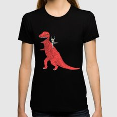 Dinosaur B Forever LARGE Black Womens Fitted Tee