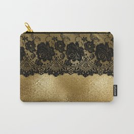 Black luxury lace on gold glitter effect metal- Elegant design Carry-All Pouch