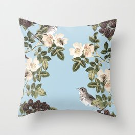 Birds and the Bees Blue Throw Pillow