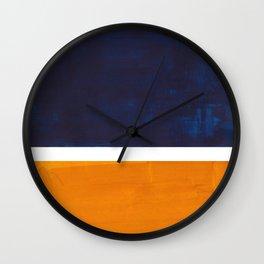 Navy Blue Yellow Ochre Abstract Minimalist Rothko Colorful Mid Century Color Block Pattern Wall Clock