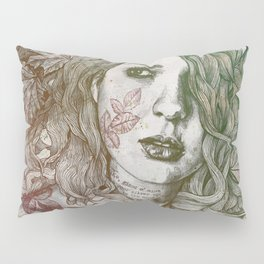 Wake: Autumn (street art woman with maple leaves tattoo) Pillow Sham
