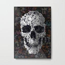 Doodle Skull Metal Print