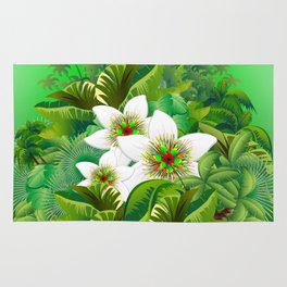Passion Flowers on Tropical Jungle Rug