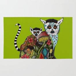 ring tailed lemur love lime Rug