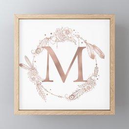 Letter M Rose Gold Pink Initial Monogram Framed Mini Art Print
