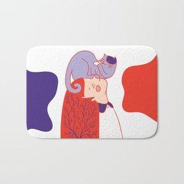 Girl with purple cat Bath Mat