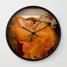 Flaming June Oil Painting by Frederic Lord Leighton Wall Clock