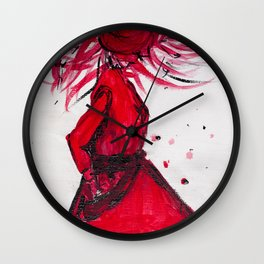 Red Women's Fashion Illustration Wall Clock