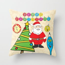 Santa & the Tree Throw Pillow