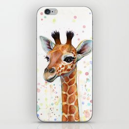 Giraffe Baby Animal Watercolor Whimsical Nursery Animals iPhone Skin