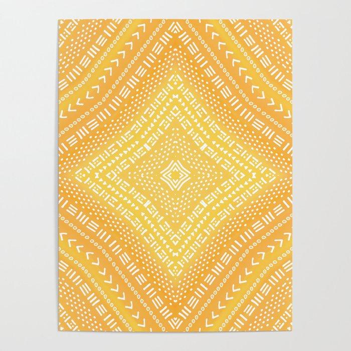 Yellow Boho Kaleidoscope Poster