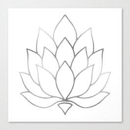 Silver Foil Lotus Flower Canvas Print