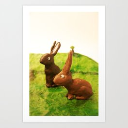 rabbit friends Art Print