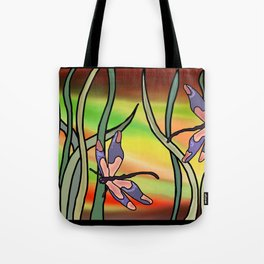 dragonflies in the grass on a colored background Tote Bag