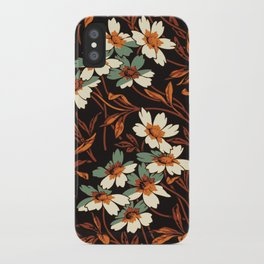 White gothic flowers iPhone Case