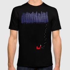 Alone in the forest MEDIUM Black Mens Fitted Tee