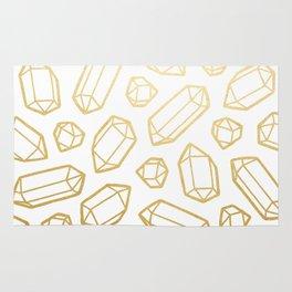 Gold and White Gemstone Pattern Rug