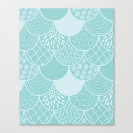 Abstract blue scales doodle vector repeating pattern Canvas Print
