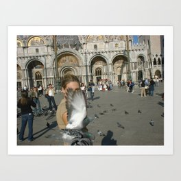 Venice, Italy, girl with pigeon Art Print