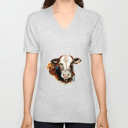 Cow watercolor Unisex V-Neck