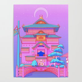 """New Tokyo Moonrise"" the Spirited Away Bathhouse by Aris Roth Poster"