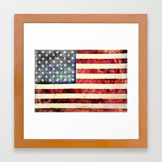 Vintage American Flag Framed Art Print By Politics
