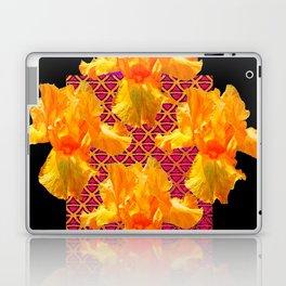 Golden Spring Iris Patterned Black  Decor Laptop & iPad Skin