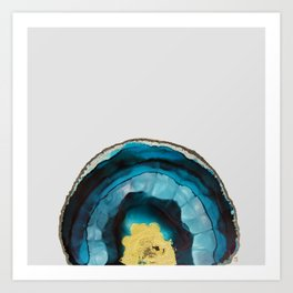 Ink painting of a blue and gold geode Art Print