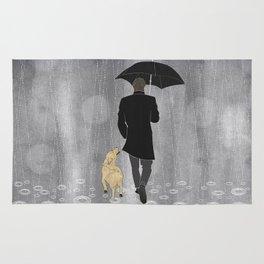Dog walk in rain Rug