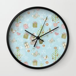 From Bunnies And Christmas - Cute teal X-Mas Pattern Wall Clock