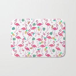Tropical pink watercolor flamingo sweet summer fruit pattern Bath Mat