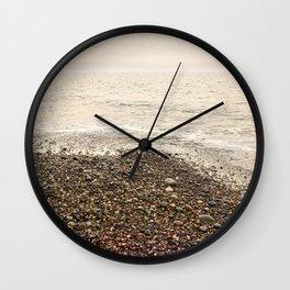 Dungeness Shoreline, Pebble Beach, Washington Seascape, Juan de Fuca, Coastal Photography Wall Clock
