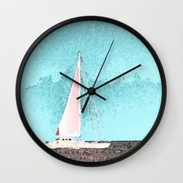 """Sailboat #5"" Art of the Sea by Murray Bolesta Wall Clock"