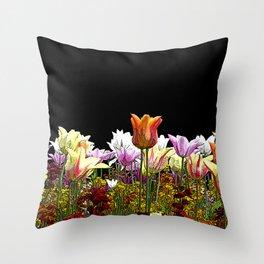 Tulips (black background) Throw Pillow