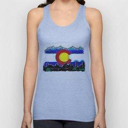 Denver Colorado artistic skyline art Unisex Tank Top