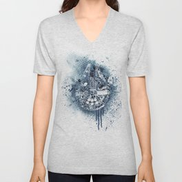 Millennium falcon #mono on white Unisex V-Neck