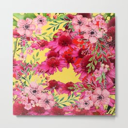 FUCHSIA-PINK FLOWERS YELLOW ART PATTERNS Metal Print